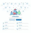 christmas concept with thin line icons santa vector image vector image
