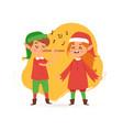 christmas elves kids singing caroling cartoon vector image