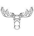 contour engraving a moose head vector image vector image