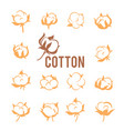 cotton logos icons labels stickers and emblems vector image vector image