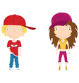 cute modern boy and girl color vector image vector image