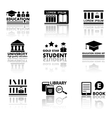 education set with reflection vector image vector image
