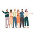 embracing friends group portrait happy students vector image
