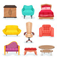 furniture collection interior design elements for vector image