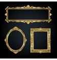 Gold frames on black background vector image vector image