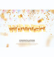 golden winner word on falling down confetti vector image vector image