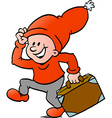hand-drawn an happy christmas elf running vector image vector image