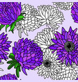 hand drawn aster flower seamless pattern vector image vector image