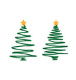 hand drawn christmas tree on a white background vector image