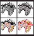 horse head paint set wild animal sign vector image vector image