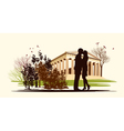 kissing couple in historical square vector image vector image