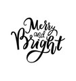 merry and bright print lettering text vector image