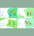 people playing different kinds sport website vector image vector image