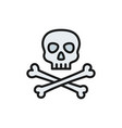 pirate skull with crossbones flat color line icon vector image vector image