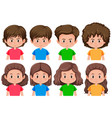 set of brunette male and female character vector image vector image