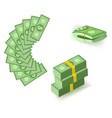 set of cartoon money currency elements with packs vector image vector image
