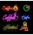Set of neon sign vector image vector image
