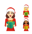 Set of surprised woman in christmas santa hat vector image vector image