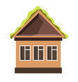 small house with plastic windows and green roof vector image vector image