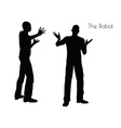 The Robot pose on white background vector image vector image