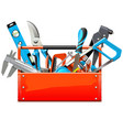 toolbox with hand tools vector image vector image