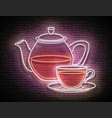 vintage glow signboard with glass tea pot and cup vector image