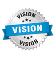vision 3d silver badge with blue ribbon vector image vector image