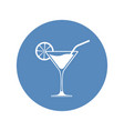 wine cocktail glass icon placed in blue circle vector image