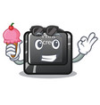 with ice cream button print screen in shape mascot vector image