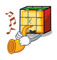 with trumpet rubik cube mascot cartoon vector image vector image