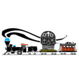 woodcut style skull locomotive vector image vector image
