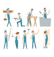 workers male and female builders professional vector image vector image