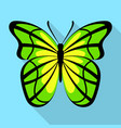 yellow green butterfly icon flat style vector image vector image