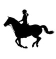 young woman riding a horse silhouette vector image vector image