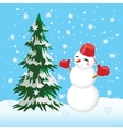 Tree and snowman winter Template for the cards vector image