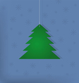 Abstract green fir tree on a blue background vector image vector image