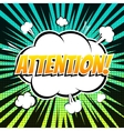 Attention comic book bubble text retro style vector image
