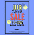 big summer sale banner for advertisement vector image vector image