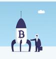 bitcoin rocket vector image vector image