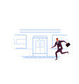 businessman running to catch train subway city vector image