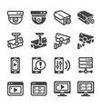 cctv icon set vector image