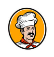 chef cook logo label or icon for design menu vector image vector image