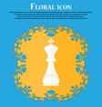 Chess king icon Floral flat design on a blue vector image