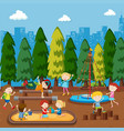 children playing on playground vector image vector image