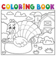coloring book turkey bird in pan theme 2 vector image vector image