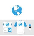 earth logo design with business card and t shirt vector image