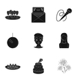 Event service set icons in black style Big vector image vector image