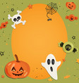 halloween cartoon art in flat style orange vector image vector image