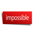 impossible red square isolated paper sign on white vector image vector image