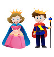 king and queen on white background vector image vector image